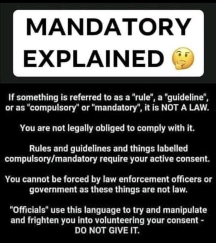 COVID RULES OR SO-CALLED MANDATES ARE NOT LAWS!! 3e93a75d-01aa-4e1b-a974-dec47adedd75